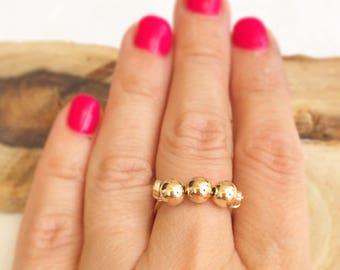 Stacked ring, Gold stacked ring, Simple ring, Minimalist ring, Boho stacked ring, Beaded gold ring, Stacked gold filled ring, Layering ring