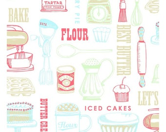 Baking Fabric - Cooking Kitchen Retro Fabric - Clothworks Fabric - Retro Butter Cream - Kitchen Theme Fabric - White Coral Louise Anglicas