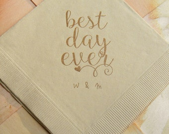 Personalized Best Day Ever Light Burlap Brown Rustic Wedding Cocktail Napkins with Coffee ink and couples initials - Set of 50
