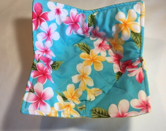 Microwave bowl cozy, microwave bowl potholder, Hawaiian microwave bowl cozy, handmade in Hawaii cozy, Hawaiian fabric bowl potholder.