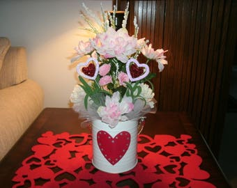 Valentine's Day Centerpiece, Pink Table Floral Arrangement, Hearts Centerpiece, Holiday Decor, Home Decor, Office Decor,
