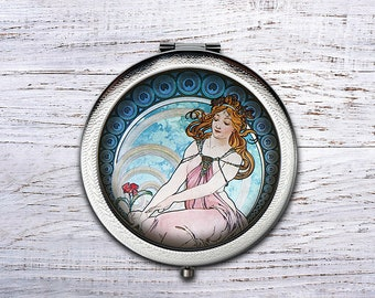 Alphonse Mucha, Compact Mirror, Bridesmaid Gifts Cosmetic Mirror Personalized Gifts for Mom, Birthdays, Ladies, Girls, Women