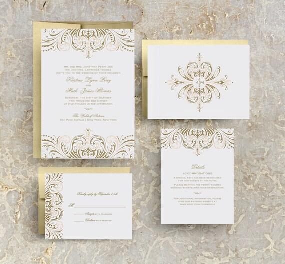 Gold And Blush Wedding Invitations: Blush Pink And Gold Wedding Invitations Diy Wedding
