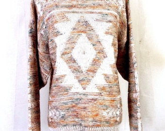 vtg 70s retro Ladies Southwest Aztec Space Dye Sweater sz XL