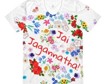 Womens T-Shirt-Jai Jagannatha Red