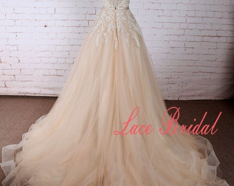 Romantic Nude Blush A Line Tulle Lace Wedding Dress with Ribbon