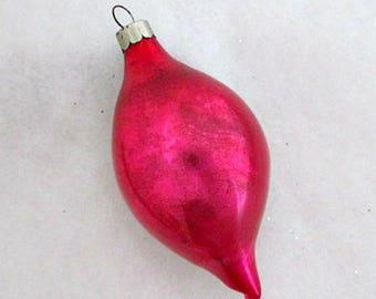 Vintage Christmas Ornament Pink Teardrop Glass Ornament USA