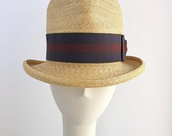 Classic Straw Fedora Hat with Three Color Ribbon and Bow