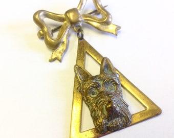 Art Deco, Highland terrier, Scottie, Westie dog brooch. Vintage dog pin.