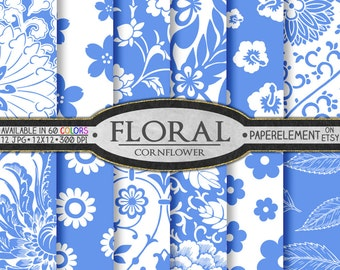 Printable Floral Digital Background in Cornflower Blue - Blue Flower Paper Instant Download Digital Paper Blue Floral Scrapbook Paper