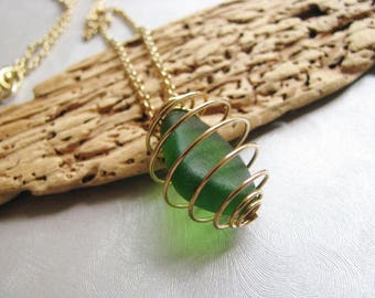 Authentic Sea Glass Jewelry -Forest Green Pendant - Sea Glass Necklace - Beach Glass Jewelry - Caged Sea Glass - Genuine Sea Glass from PEI