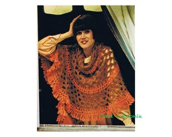 Cape Shawl Crochet Patterns Women's Vintage 1970's Digital Crochet Pattern Instant Download