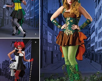 Simplicity Pattern 1091-Harley Quinn, Poison Ivy and Joker Inspired Costume Size 6-14