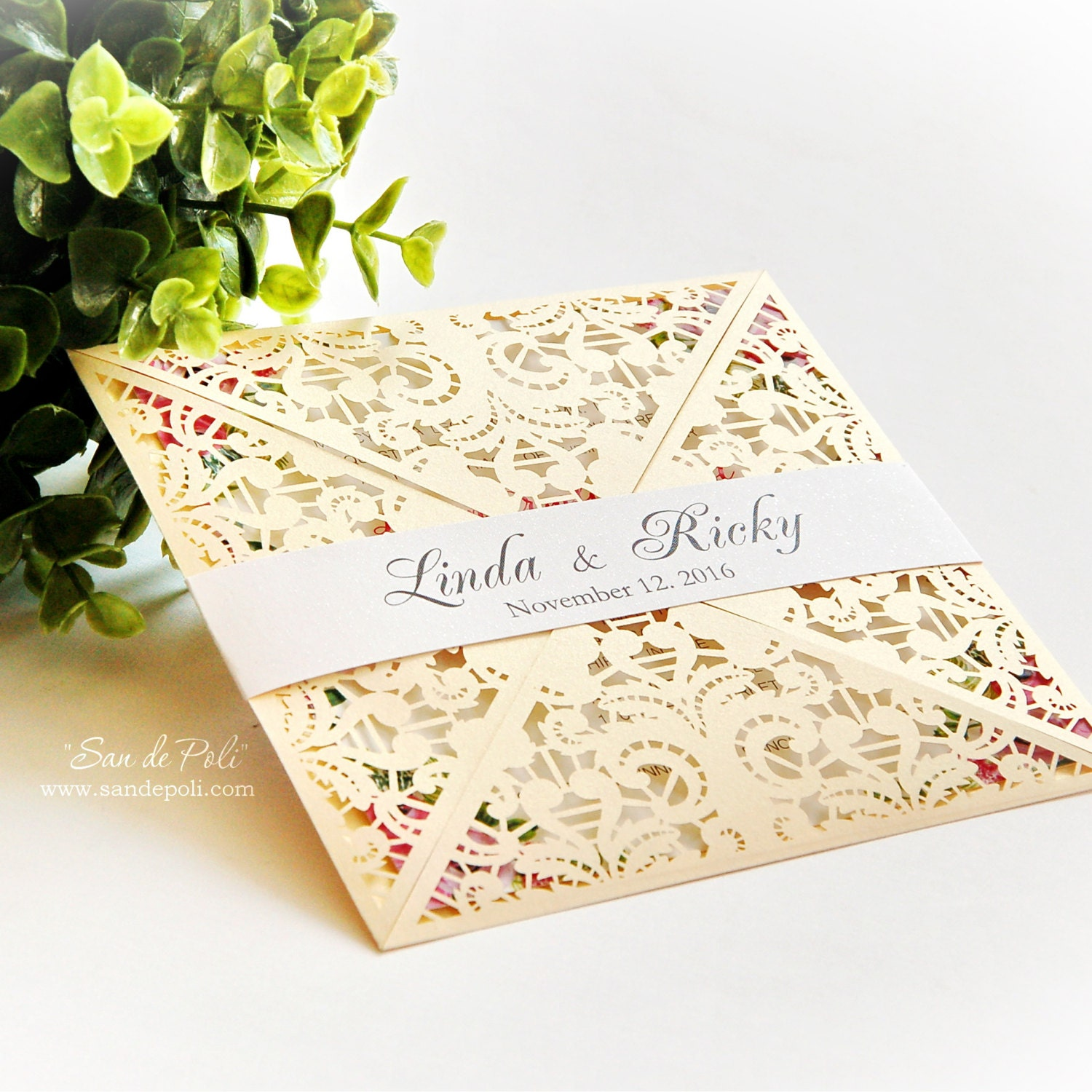Wedding invitation digital Pattern Card Template Lace folds