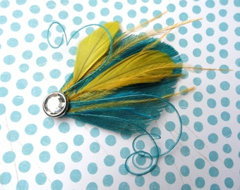 CIRQUE Deep Aqua and Mustard Yellow Peacock Mini Feather Hair Clip with Crystal, Feather Fascinator