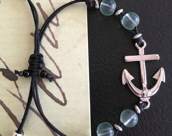 Anchor and Seaglass Green Bracelet