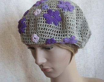 Crochet linen grey beret, linen summer hat for lady, lace sun hat with purple-lilac-violet flowers