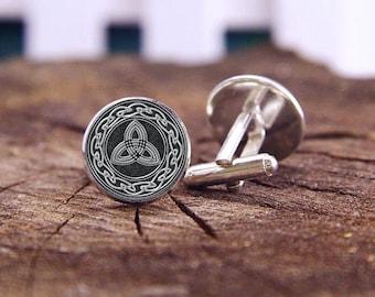 Silver Celtic Cufflinks, Wheel Knots And Trinity Cufflinks, Celtic, Custom Wedding Cufflinks, Groom Cufflinks, Personalized Cuff Links