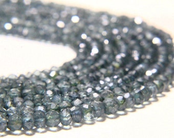 "13"" Full Strand Teal Green Mystic Quartz Rondelles 3mm to 4mm Rondelle, Teal Green Mystic Beads Drilled Gemstone Faceted Beads"