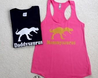 Dinosaur shirt set, Daddy dinosaur shirt and mommy dinosaur tank top, matching dinosaur birthday shirt, womens dinosaur tank top