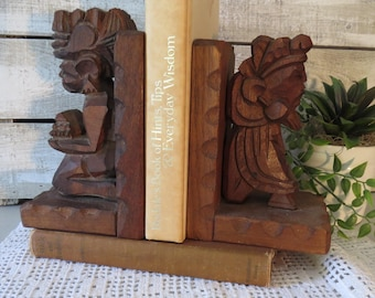 Hand Carved African Wood Bookends Tribal Decor wood sculpture