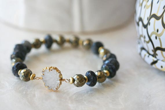 Druzy and Labradorite Bracelet in Rich Tones of Blue, Gold and White