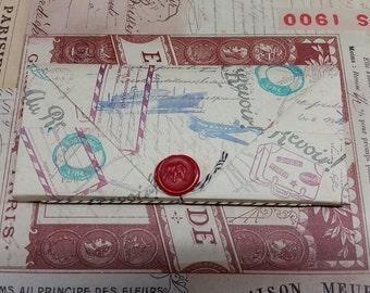 Booklover's Paper Wallet - World Travel Theme - 14 pockets Folder Organizer