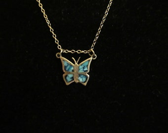 Vintage Sterling Silver Turquoise Butterfly Necklace 18 inches