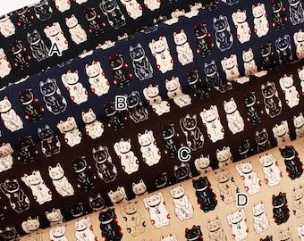 Japanese Fortune Cat Maneki Neko printed Fabric in Japan Cats Fabric by the Half Yard
