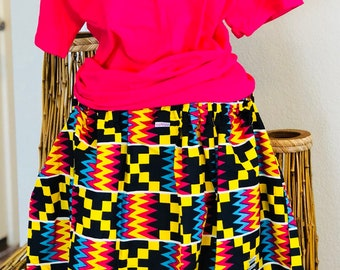 African Romp Skirt - A Line - Elastic waist - multi colored - geometric - with pockets