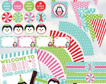 Winter One-Derland Fun To Be One First Birthday Party Printable Package - Penguins, Snowflakes, Peppermint  Aqua, Pink, Red, Green
