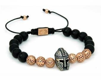 SPARTAN   Mens Beaded Bracelet, Spartan Helmet Bracelet, Gunmetal, 925 Sterling Silver, Bracelet for Men, Gift for Men, Mens Jewelry, GOT