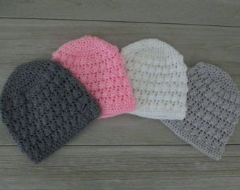 Hand Crochet Baby Hat Size Newborn to 3 Months Gray White Charcoal Pink OOAK