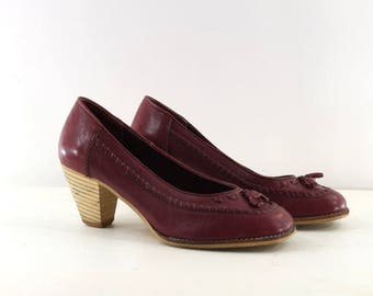 wooden heel shoes • burgundy leather shoes • leather tassel shoes • maroon pumps 7