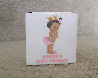 "12 PERSONALIZED Pink African American Princess Baby Shower Gift boxes- Boxes are 2""x2""x2"""