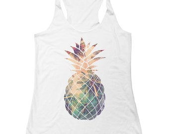 Pineapple - Ladies Tank Top  - Summer Tank - Tropical - Vacation - Organic Eco-friendly Tank Top
