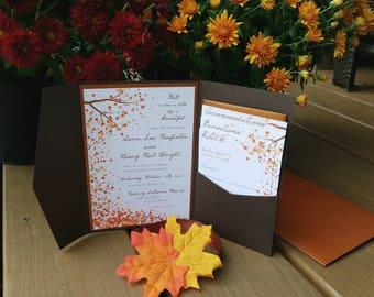 Fall autumn leaves wedding invitation