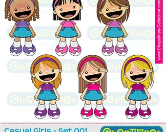 60% off Clipart Girls, school illustrations, girls illustrations, girls images set 001