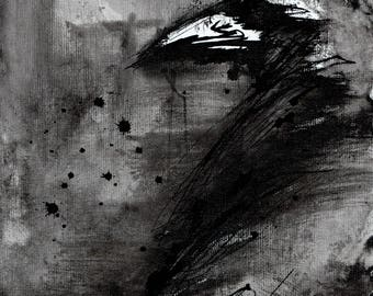 Crow painting - Ink on 8x12in canvas, A4, 21x30cm - abstract flying crow - sumi ink