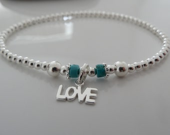 stretch anklet sterling silver 925 blue turquoise stacking ankle bracelets