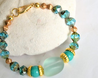 BERMUDA AQUA BLUE Czech Glass and Gold Beaded Bracelet with Aqua Seaglass and Teal Jade