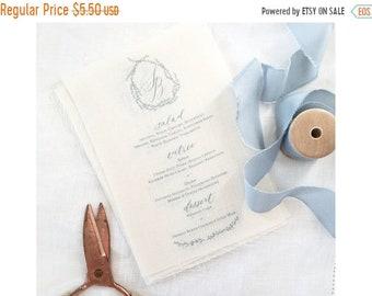 ON SALE Custom Linen Calligraphy Menu; Personalized Wedding, Dinner Menu, Hand-lettered Menu Design-Minimum 40