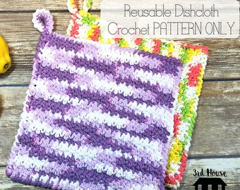 Spring Cleaning Crochet Dishcloth - Lemon Peel Stitch Crochet Dishcloth