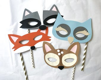 Woodland Birthday Party Props, Paper Fox Mask, Kids Photo Booth Party Props, Photo Booth Props,  Paper Animal Mask, Animal Birthday Mask