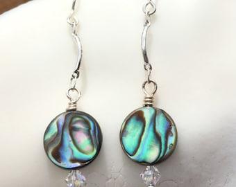 Paua Shell Earrings, Abalone Earrings, Sterling Drop Earrings