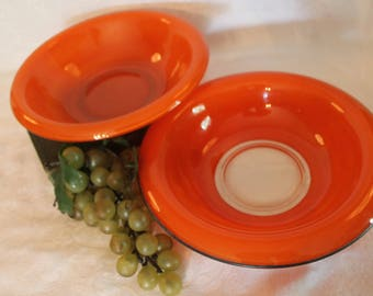 Set of 2 Vintage Czech Orangeware Glass Serving Bowls with Rolled Rims