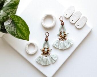 Tassel Earrings, Statement Earrings, Fan Earrings, Fringe Earrings, Seafoam Earrings, Boho Chandeliers, Tribal Earrings, Clip On Earrings