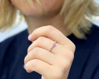 Amethyst ring Stacking ring bezel ring gemstone multistone ring birthstone ring slim ring thin ring women jewelry delicate ring bridal ring