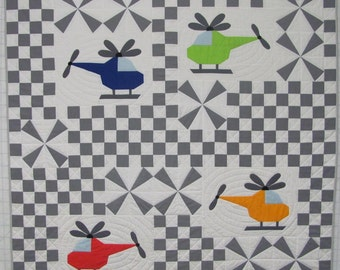 Whirly Birds - Helicopter Airplane Quilt Pattern (This is the PDF version)