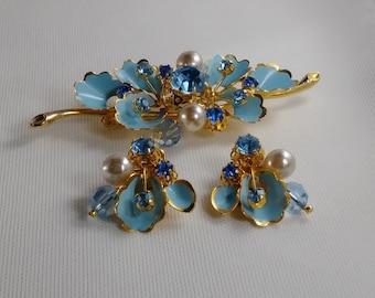 Vintage Austria Brooch & Earring Set - Blue Enamel and Rhinestone Demi Parure - 1950's-60's